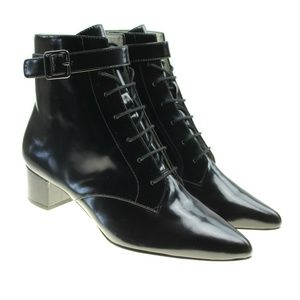 Bettye Muller Black Leather Point Toe Ankle Boots